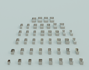 Low poly 43 standard C Profiles with thickness more 3D 1