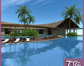 HOTEL RECEPTION TROPICAL RESORT 3D model