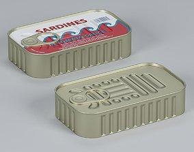 3D asset Sardine Can