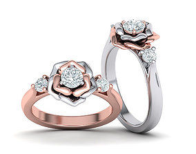 Rose Engagement ring Floral design Three Stone