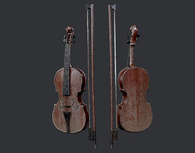 3D asset Violin Instrument Game Ready 05