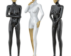 3D Three female mannequin with a golden face 41