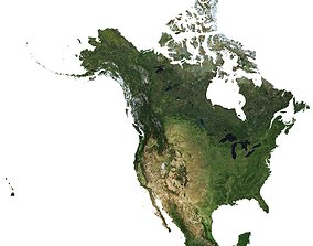 3D High detailed relief map of USA-Canada-Mexico
