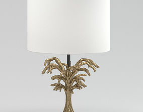 Round White And Gold Table Lamp 3D