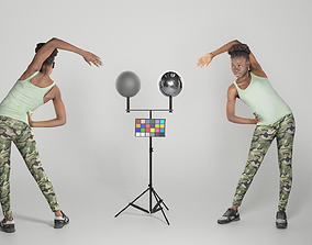 Pretty young african woman doing exercise 240 3D model