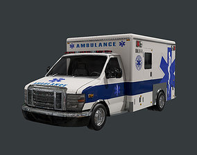 3D asset Vehicle Ambulance Rescue Truck Game Ready