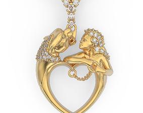 Heart and Tiger pendant 3D print model