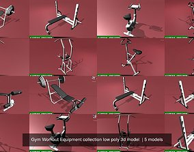 Gym Workout Equipment collection low poly 3d model