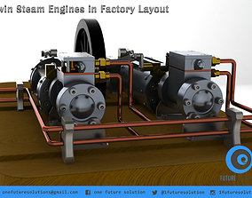 3D model Twin Steam Engines in Factory Layout