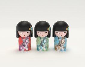 3D asset Japanese Wooden Dolls