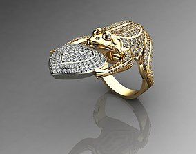 3D print model Frog Ring With Diamonds