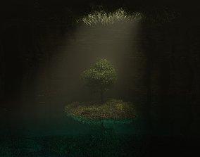 Dark cave with tree 3D