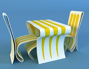 Modern table and chair 3D model