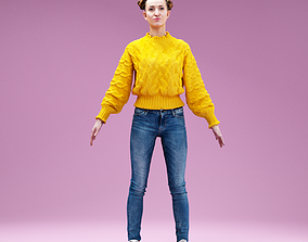 A Posing Girl in Yellow TopJeans Pants and 3D model