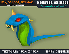 3D asset Low Poly Cobra Monster 36 Animated - Game