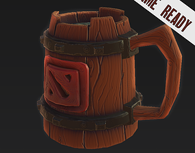 Wood Beer Mug Low Poly Game Ready 3D model