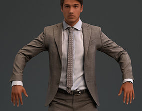 rigged Rigged European male 3D model in business formal