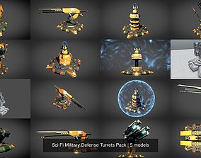 3D Sci Fi Military Defense Turrets Pack