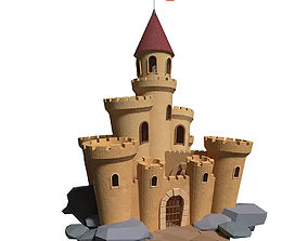 Medieval castle with build animation 3D