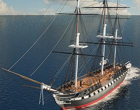 american USS Constitution 3D