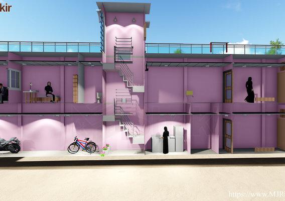 Narrow House Plan Section Views