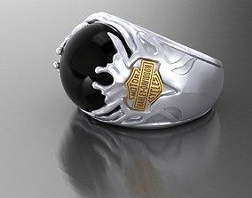 3D printable model Ring Harley Davidson motors with Stone