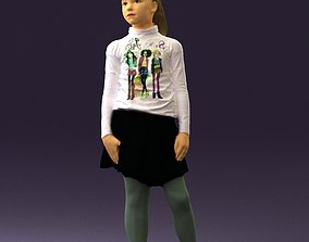 Girl in white shirt black skirt 0436 3D Print Ready