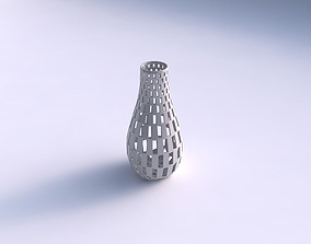 3D print model Vase curved with checker grid lattice
