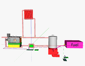 3D printable model Wood fueled space heating wood