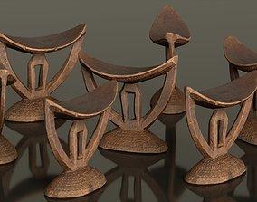 Headrest Africa Wood Furniture Prop 41 3D asset low-poly