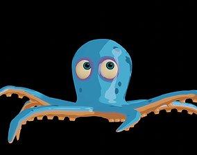 3D asset rigged Cartoon Octopus