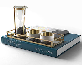 3D Books with Hourglass and Cups