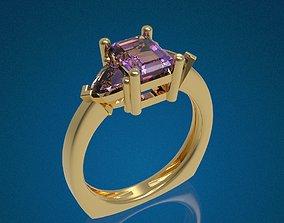 Three Gemstone Ring 3D print model
