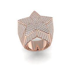 Star ring full diamond luxury jewelry 3D print model