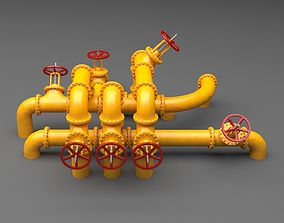 PBR Industrial Pipes Large 3D model