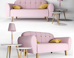 Set of pink furniture in the nursery 3D