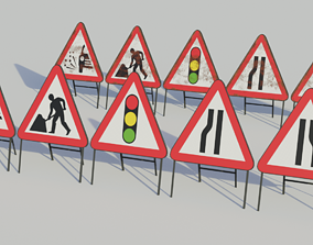 Temporary Traffic Signs - Low-poly PBR 3D model