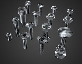 3D model realtime Hardware Pack- nuts and bolts