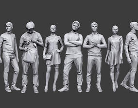 3D asset game-ready Lowpoly People Casual Pack