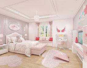 Girls bedroom interior design 3D model
