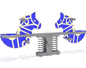 Horse Seesaw Playground 3D asset