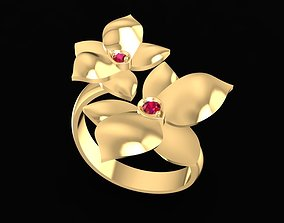 3D print model 1664 Diamond Flower Ring