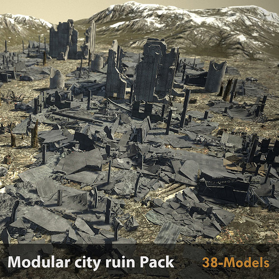 Modular City Ruin-Pack pbr Low-poly 3D model