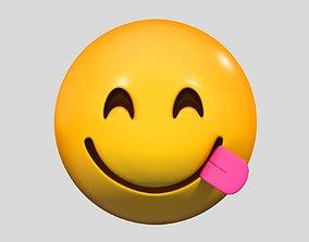 3D Emoji Face Savoring Food