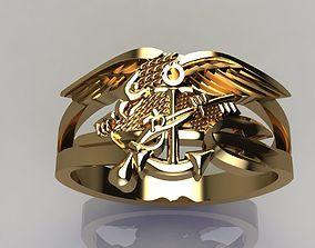 3D print model Eagle ring with gun