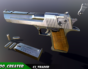Pistol Desert Eagle Low-poly PBR 3D model game-ready