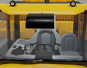 3D model Three Axle Articulated Truck with Cabin Interior