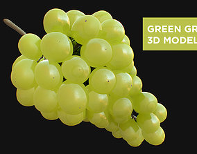 3D Green Grapes High Detail