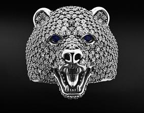 Stylish bear ring with diamonds 524 3D printable model