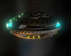 UFO Type 5 Animated and Game Ready 3D model